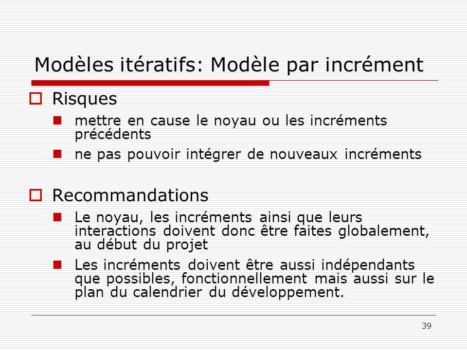 39 Modèles itératifs: Modèle par incrément Risques mettre en cause le noyau ou les incréments précédents ne pas pouvoir intégrer de nouveaux incrément