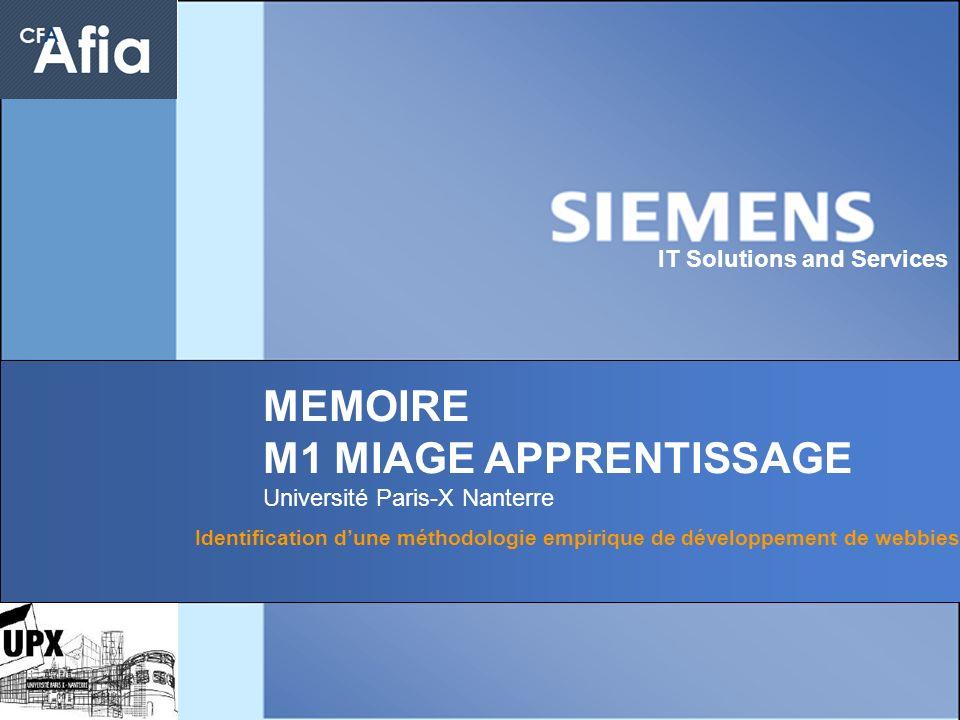 1 IT Solutions and Services MEMOIRE M1 MIAGE APPRENTISSAGE Université Paris-X Nanterre Identification dune méthodologie empirique de développement de