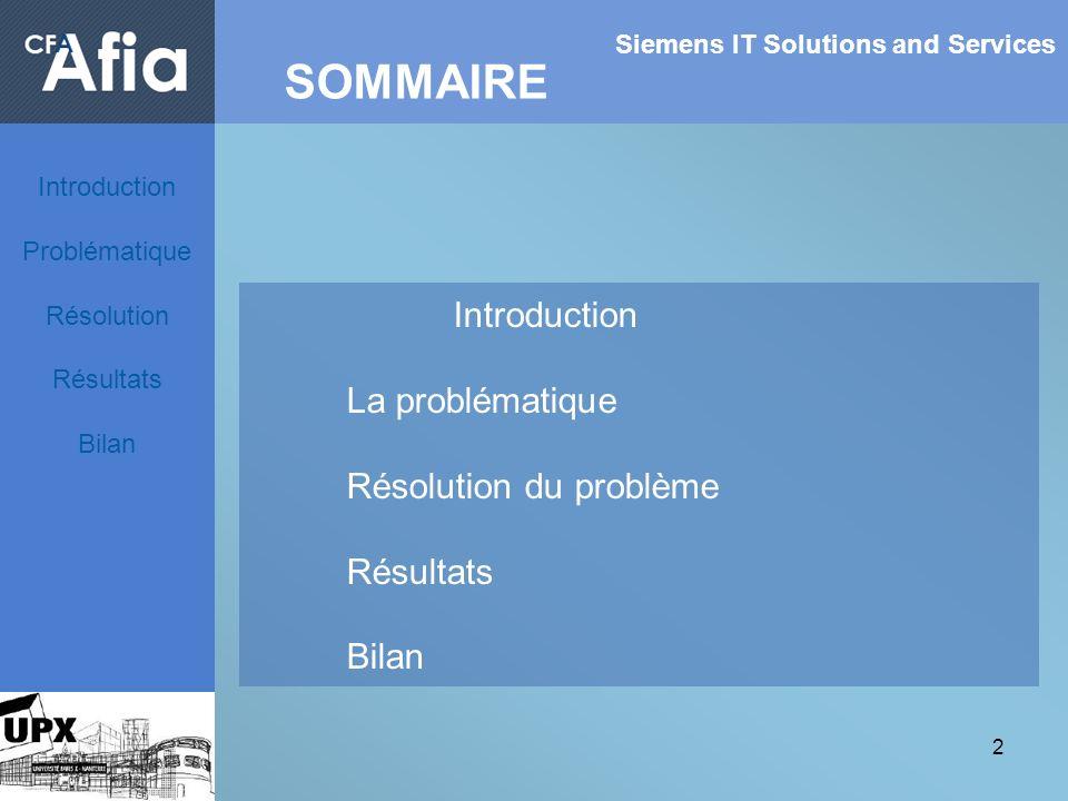 2 Siemens IT Solutions and Services SOMMAIRE Introduction Problématique Résolution Résultats Bilan Introduction La problématique Résolution du problèm