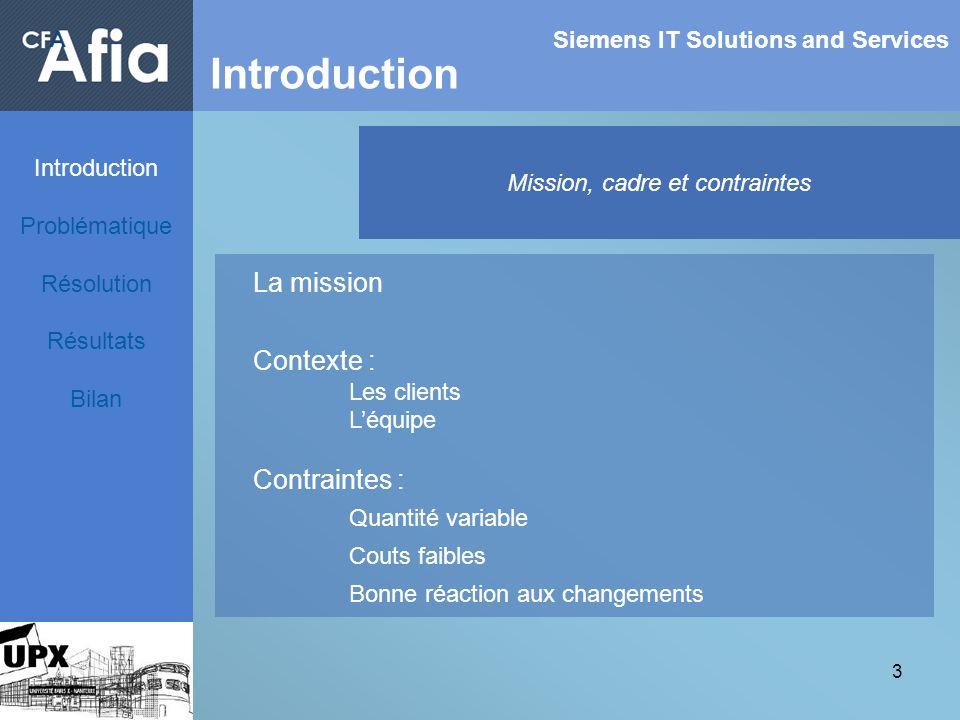 3 Siemens IT Solutions and Services Introduction Mission, cadre et contraintes La mission Contexte : Les clients Léquipe Contraintes : Quantité variab
