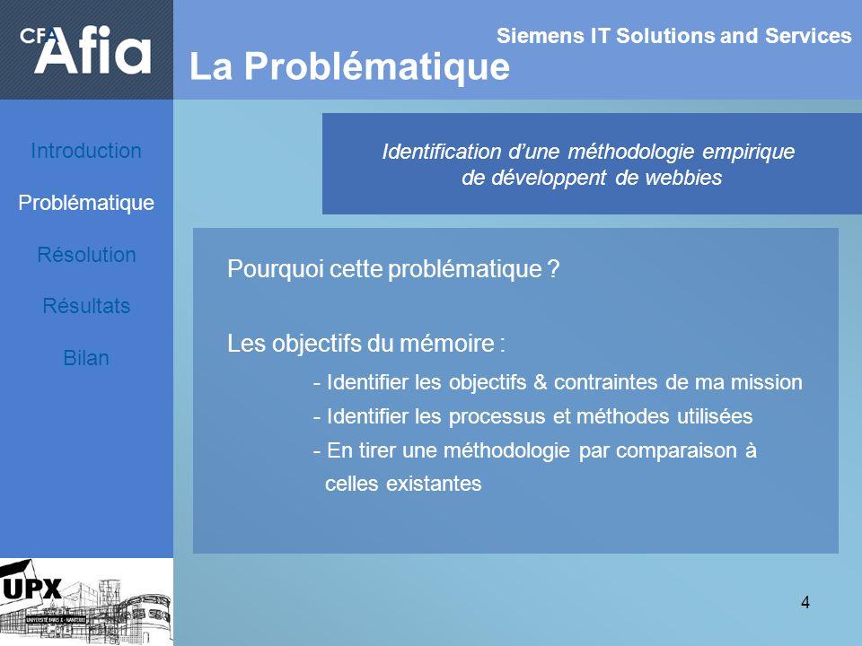 4 Siemens IT Solutions and Services La Problématique Identification dune méthodologie empirique de développent de webbies Pourquoi cette problématique