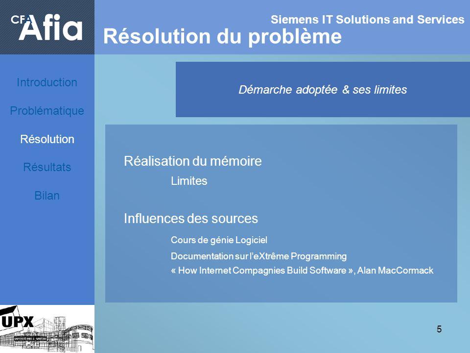 5 Siemens IT Solutions and Services Résolution du problème Démarche adoptée & ses limites Réalisation du mémoire Limites Influences des sources Cours