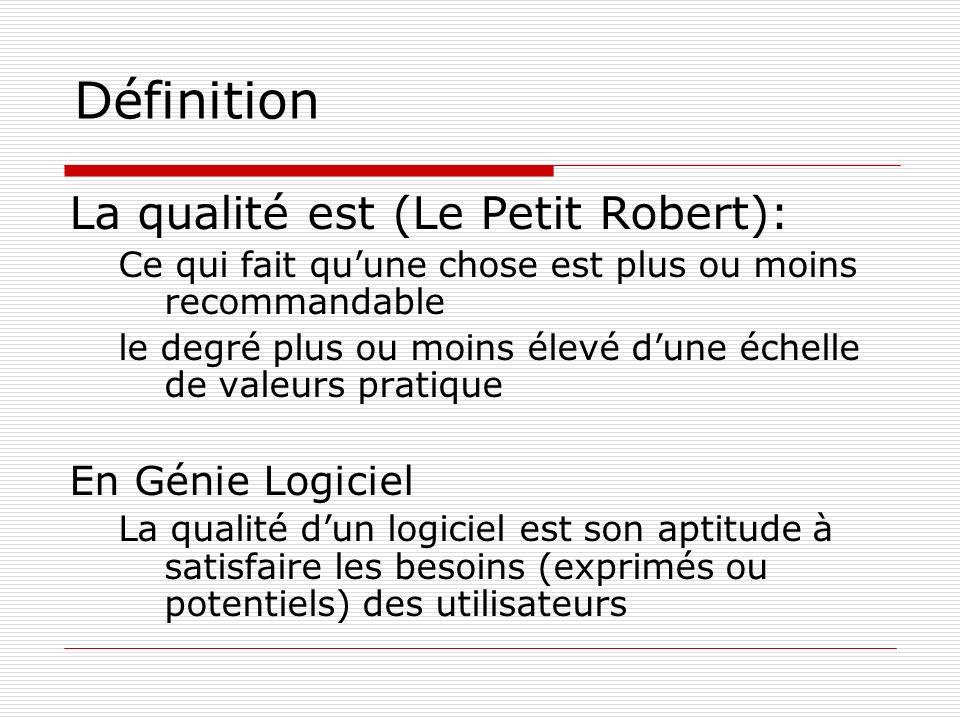 Définition La qualité est (Le Petit Robert): Ce qui fait quune chose est plus ou moins recommandable le degré plus ou moins élevé dune échelle de vale
