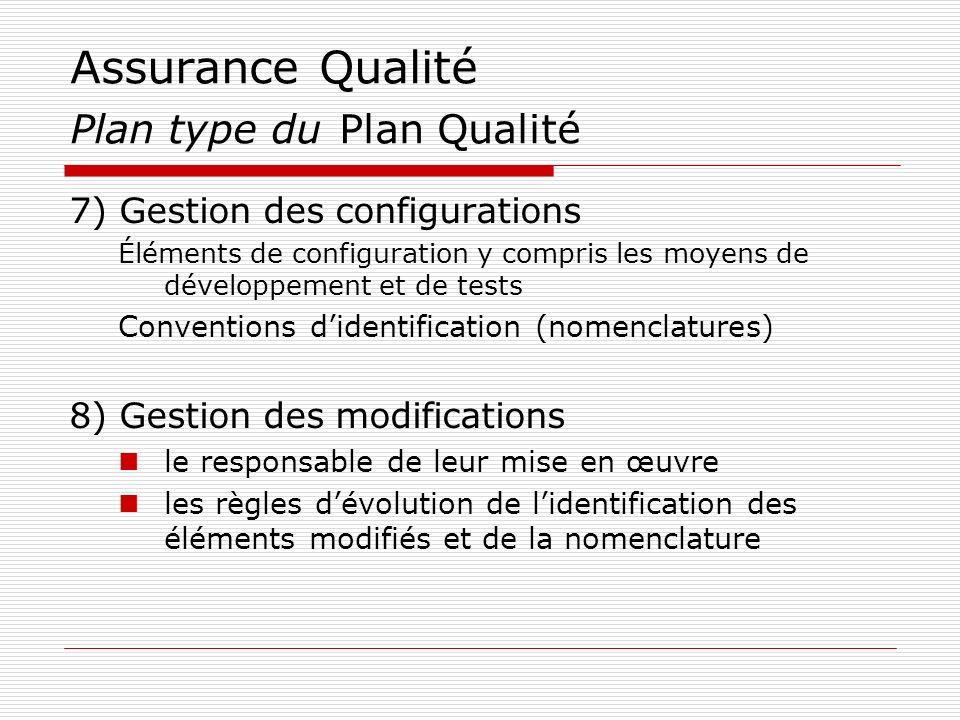 Assurance Qualité Plan type du Plan Qualité 7) Gestion des configurations Éléments de configuration y compris les moyens de développement et de tests