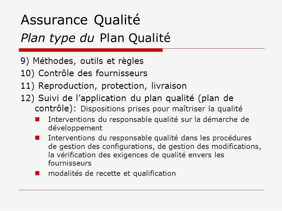 Assurance Qualité Plan type du Plan Qualité 9) Méthodes, outils et règles 10) Contrôle des fournisseurs 11) Reproduction, protection, livraison 12) Su