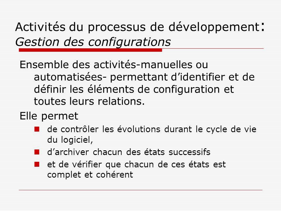 Activités du processus de développement : Gestion des configurations Ensemble des activités-manuelles ou automatisées- permettant didentifier et de dé
