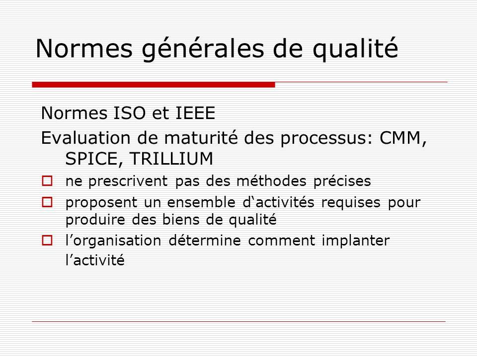 Normes générales de qualité Normes ISO et IEEE Evaluation de maturité des processus: CMM, SPICE, TRILLIUM ne prescrivent pas des méthodes précises pro