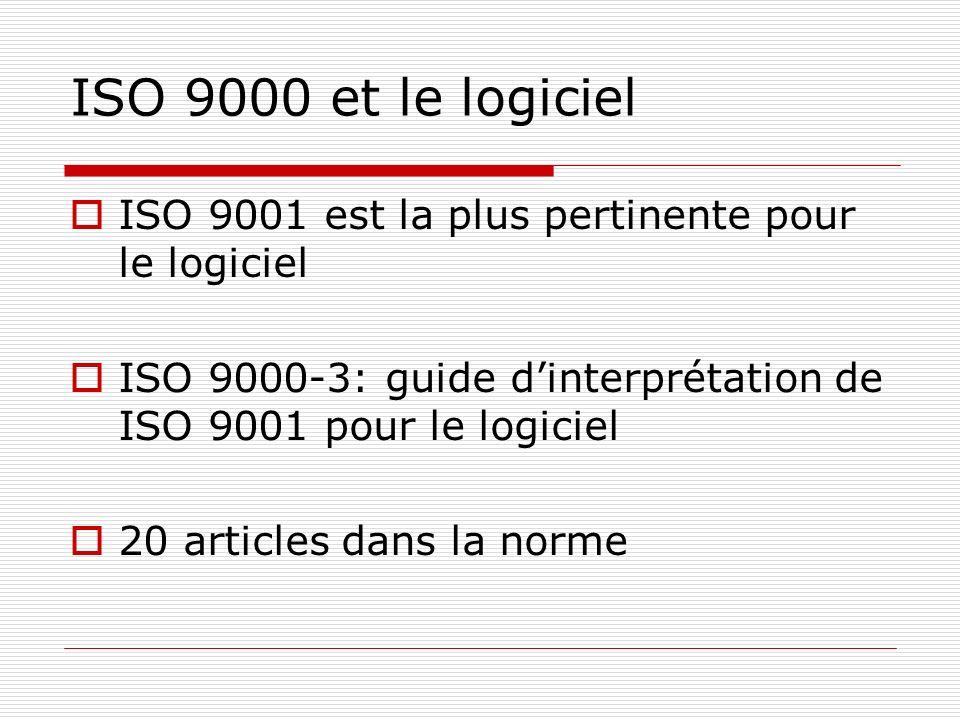 ISO 9000 et le logiciel ISO 9001 est la plus pertinente pour le logiciel ISO 9000-3: guide dinterprétation de ISO 9001 pour le logiciel 20 articles da