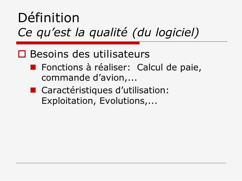 Normes générales de qualité Normes ISO et IEEE Evaluation de maturité des processus: CMM, SPICE, TRILLIUM ne prescrivent pas des méthodes précises proposent un ensemble dactivités requises pour produire des biens de qualité lorganisation détermine comment implanter lactivité