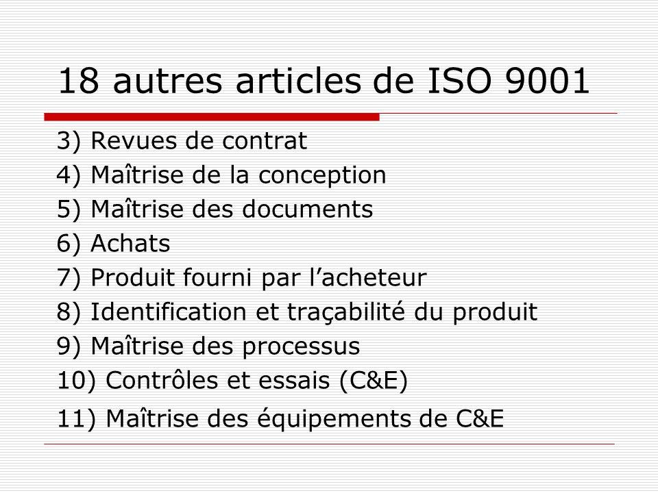 18 autres articles de ISO 9001 3) Revues de contrat 4) Maîtrise de la conception 5) Maîtrise des documents 6) Achats 7) Produit fourni par lacheteur 8