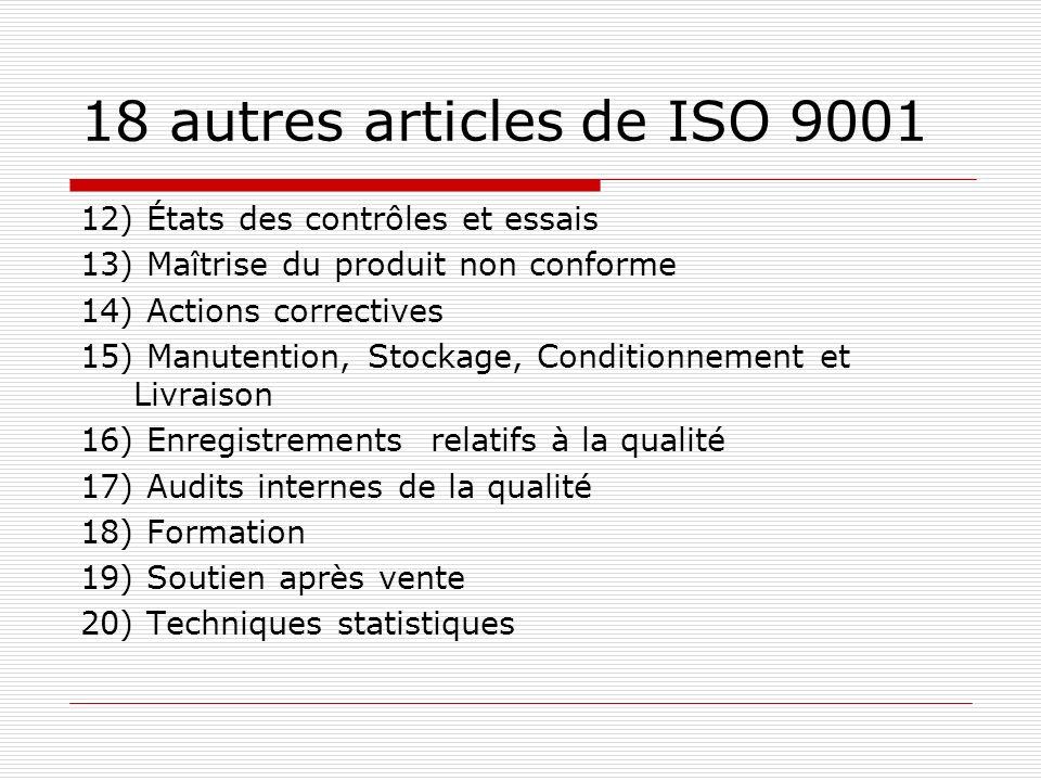 18 autres articles de ISO 9001 12) États des contrôles et essais 13) Maîtrise du produit non conforme 14) Actions correctives 15) Manutention, Stockag