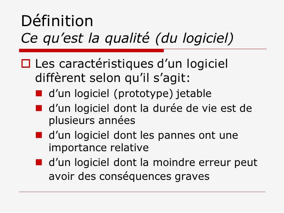 Définition Ce quest la qualité (du logiciel) Les caractéristiques dun logiciel diffèrent selon quil sagit: dun logiciel (prototype) jetable dun logici