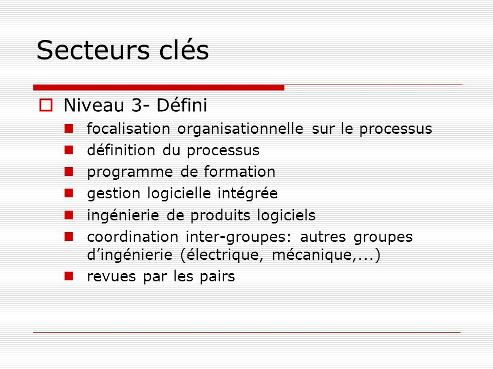Secteurs clés Niveau 3- Défini focalisation organisationnelle sur le processus définition du processus programme de formation gestion logicielle intég