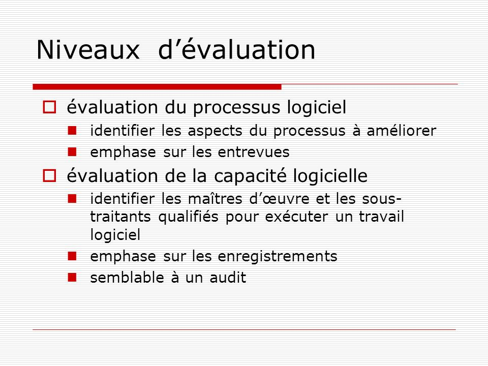 Niveaux dévaluation évaluation du processus logiciel identifier les aspects du processus à améliorer emphase sur les entrevues évaluation de la capaci