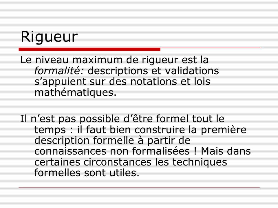 Rigueur Le niveau maximum de rigueur est la formalité: descriptions et validations sappuient sur des notations et lois mathématiques. Il nest pas poss