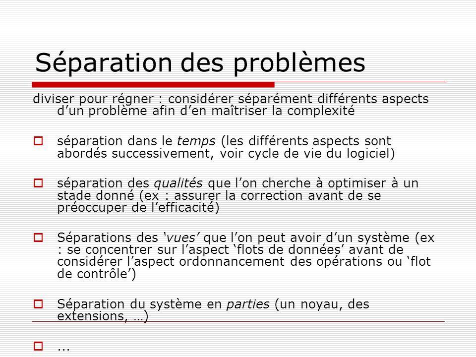 Séparation des problèmes diviser pour régner : considérer séparément différents aspects dun problème afin den maîtriser la complexité séparation dans