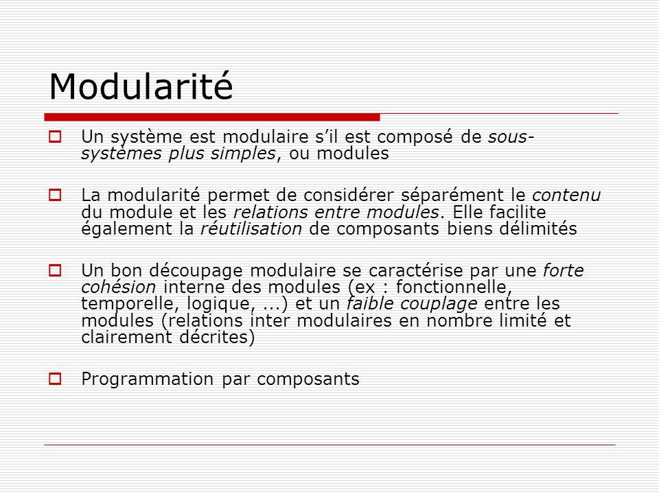 Modularité Un système est modulaire sil est composé de sous- systèmes plus simples, ou modules La modularité permet de considérer séparément le conten