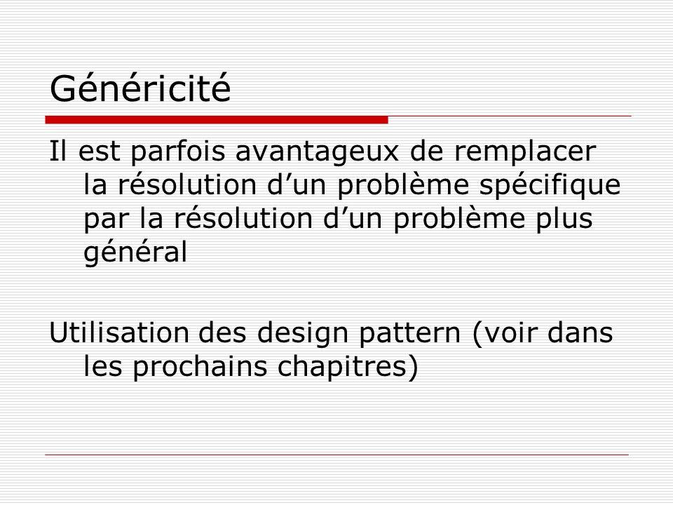 Généricité Il est parfois avantageux de remplacer la résolution dun problème spécifique par la résolution dun problème plus général Utilisation des de