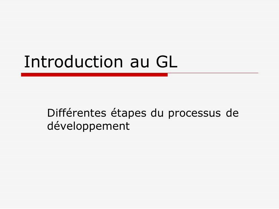 Introduction au GL Différentes étapes du processus de développement