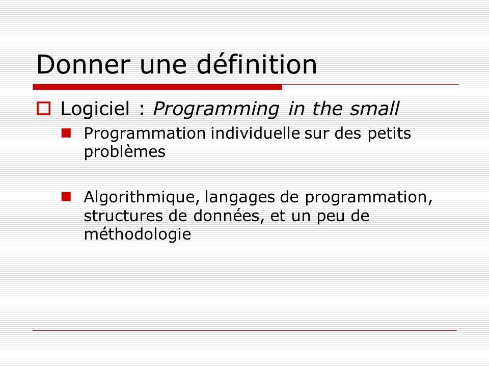 Donner une définition Logiciel : Programming in the small Programmation individuelle sur des petits problèmes Algorithmique, langages de programmation