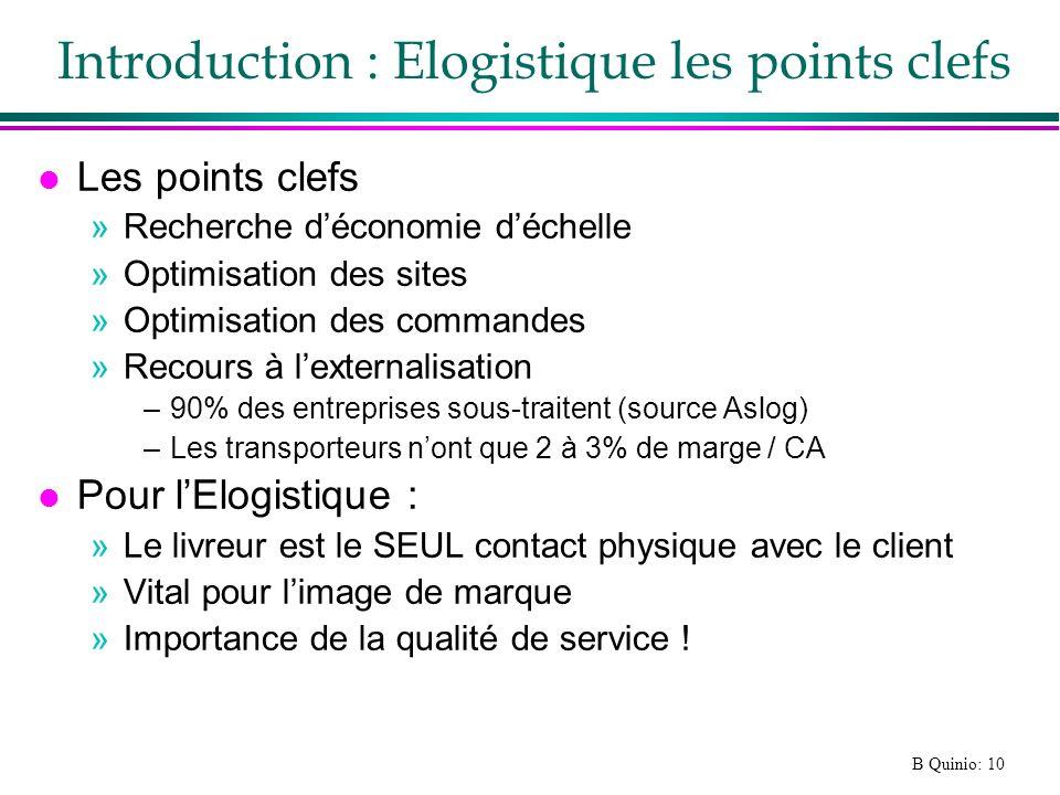 B Quinio: 10 Introduction : Elogistique les points clefs l Les points clefs »Recherche déconomie déchelle »Optimisation des sites »Optimisation des co