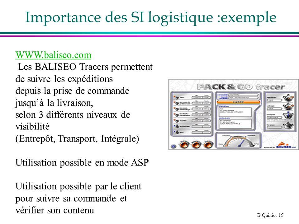 B Quinio: 15 Importance des SI logistique :exemple WWW.baliseo.com Les BALISEO Tracers permettent de suivre les expéditions depuis la prise de command
