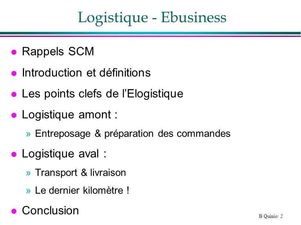 B Quinio: 3 Rappels : SCM (1) l Supply Chain Management / Gestion intégré de la logistique : »Intégration des flux logistiques entre fournisseurs, fabricants et distributeurs »http://www.industrie.gouv.fr/FranceTech/francais/parcours_6/v_parcours6.htm l La Logistique : les relations avec les fournisseurs (achats) ; l organisation des stocks (réapprovisionnements) ; l organisation de la fabrication des produits ; la mise en place des réseaux de distribution des produits.