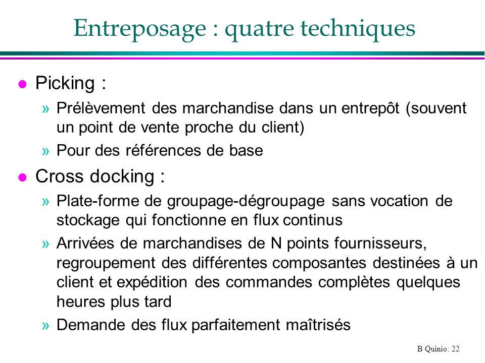 B Quinio: 22 Entreposage : quatre techniques l Picking : »Prélèvement des marchandise dans un entrepôt (souvent un point de vente proche du client) »P