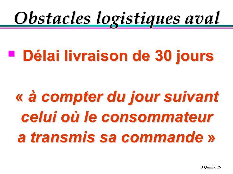 B Quinio: 26 Obstacles logistiques aval Délai livraison de 30 jours Délai livraison de 30 jours « à compter du jour suivant celui où le consommateur a