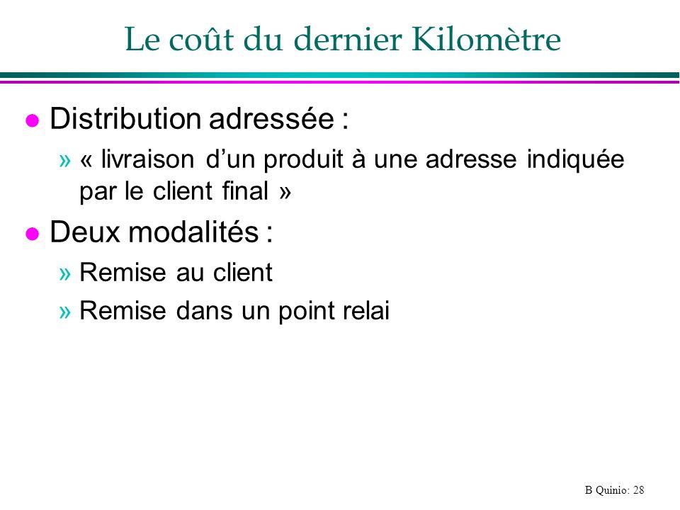 B Quinio: 28 Le coût du dernier Kilomètre l Distribution adressée : »« livraison dun produit à une adresse indiquée par le client final » l Deux modal