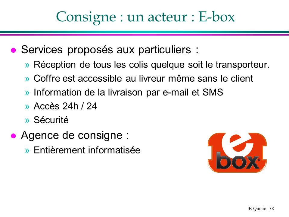 B Quinio: 38 Consigne : un acteur : E-box l Services proposés aux particuliers : »Réception de tous les colis quelque soit le transporteur. »Coffre es