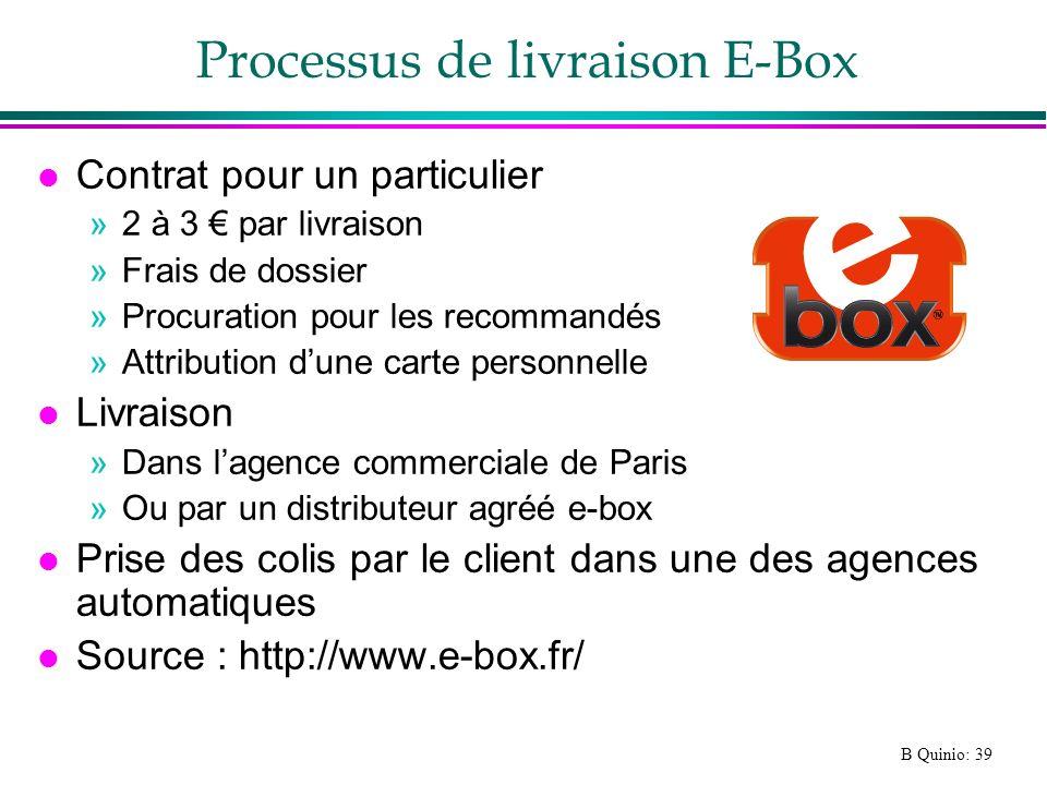 B Quinio: 39 Processus de livraison E-Box l Contrat pour un particulier »2 à 3 par livraison »Frais de dossier »Procuration pour les recommandés »Attr