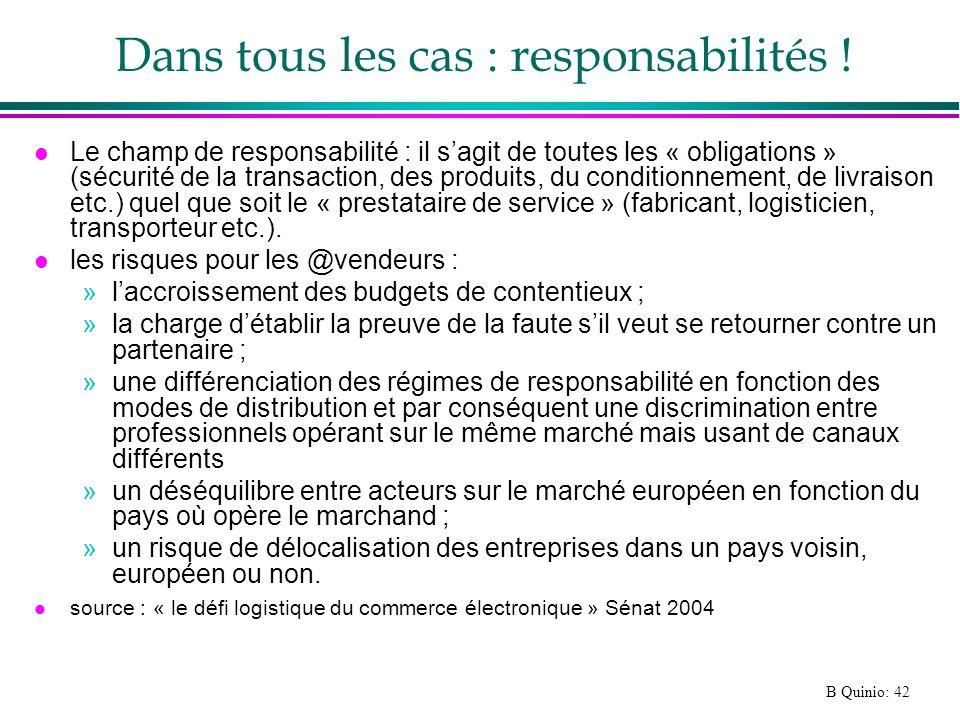 B Quinio: 42 Dans tous les cas : responsabilités ! l Le champ de responsabilité : il sagit de toutes les « obligations » (sécurité de la transaction,