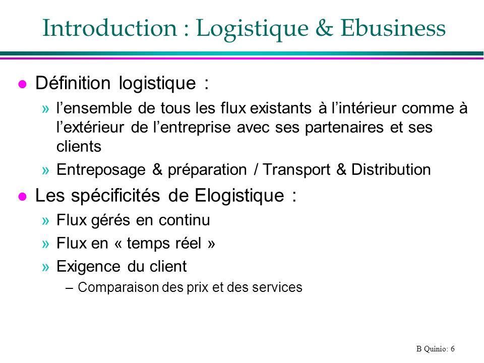 B Quinio: 6 Introduction : Logistique & Ebusiness l Définition logistique : »lensemble de tous les flux existants à lintérieur comme à lextérieur de l