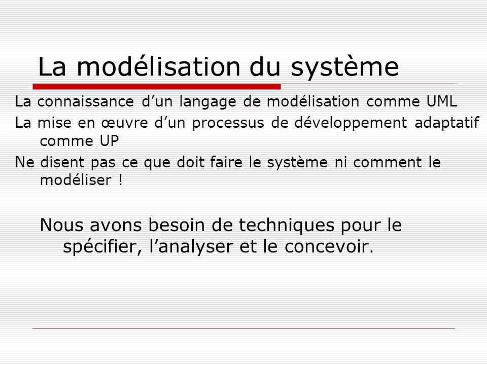 La connaissance dun langage de modélisation comme UML La mise en œuvre dun processus de développement adaptatif comme UP Ne disent pas ce que doit faire le système ni comment le modéliser .