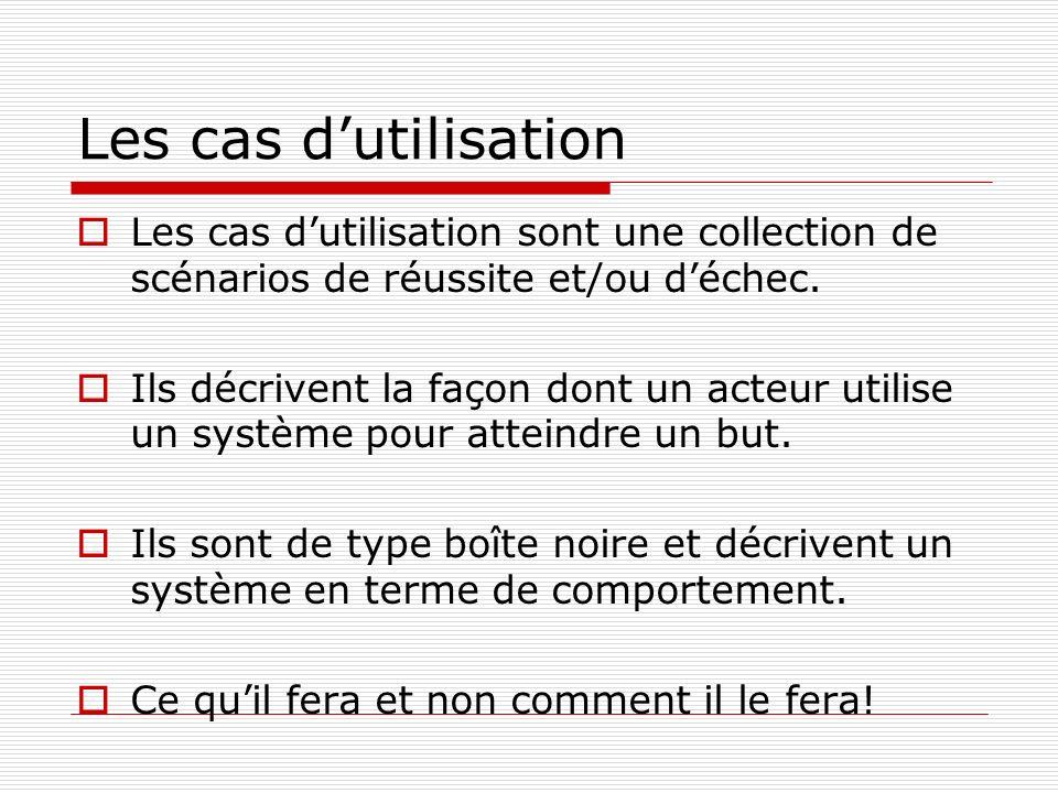 Les cas dutilisation Les cas dutilisation sont une collection de scénarios de réussite et/ou déchec.