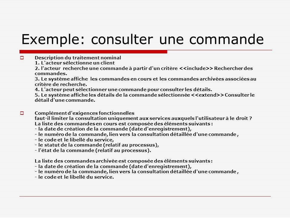 Exemple: consulter une commande Description du traitement nominal 1. L'acteur sélectionne un client 2. l'acteur recherche une commande à partir d'un c