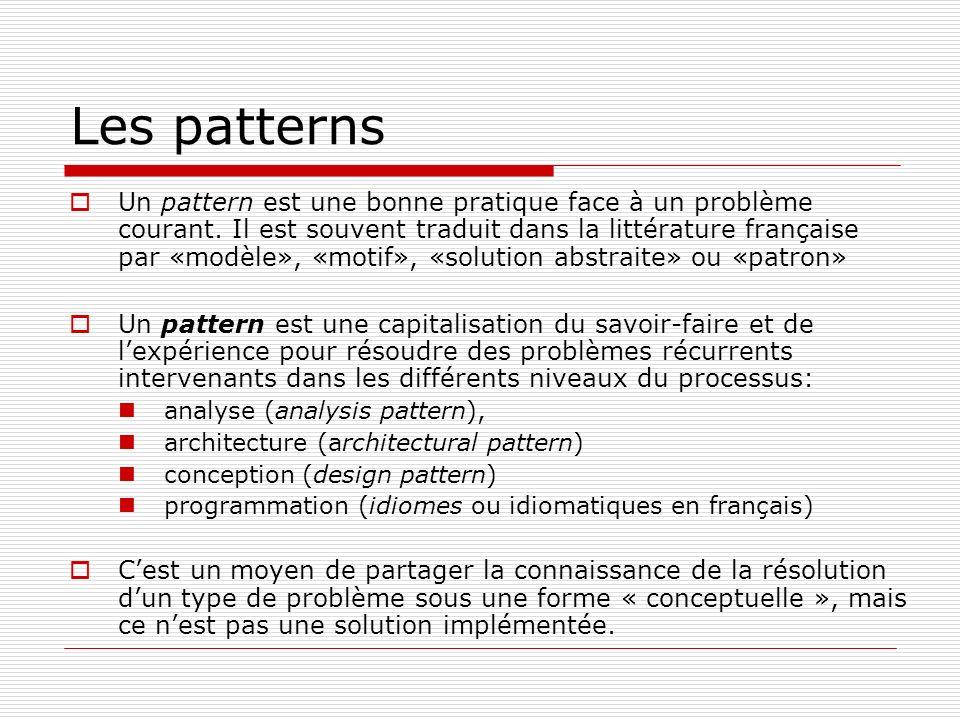 Les patterns Un pattern est une bonne pratique face à un problème courant. Il est souvent traduit dans la littérature française par «modèle», «motif»,