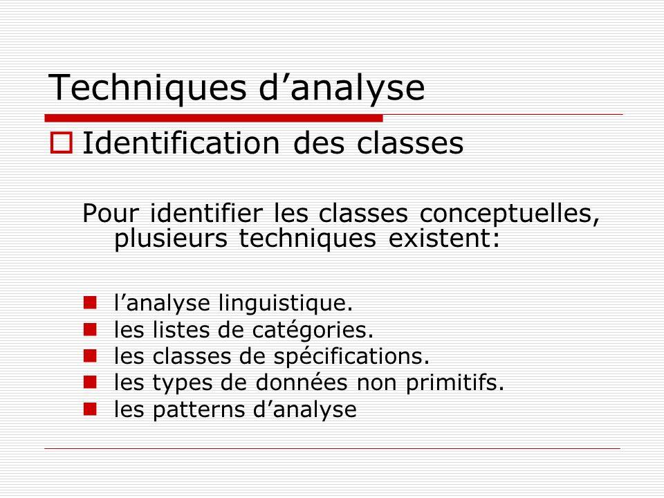 Techniques danalyse Identification des classes Pour identifier les classes conceptuelles, plusieurs techniques existent: lanalyse linguistique. les li