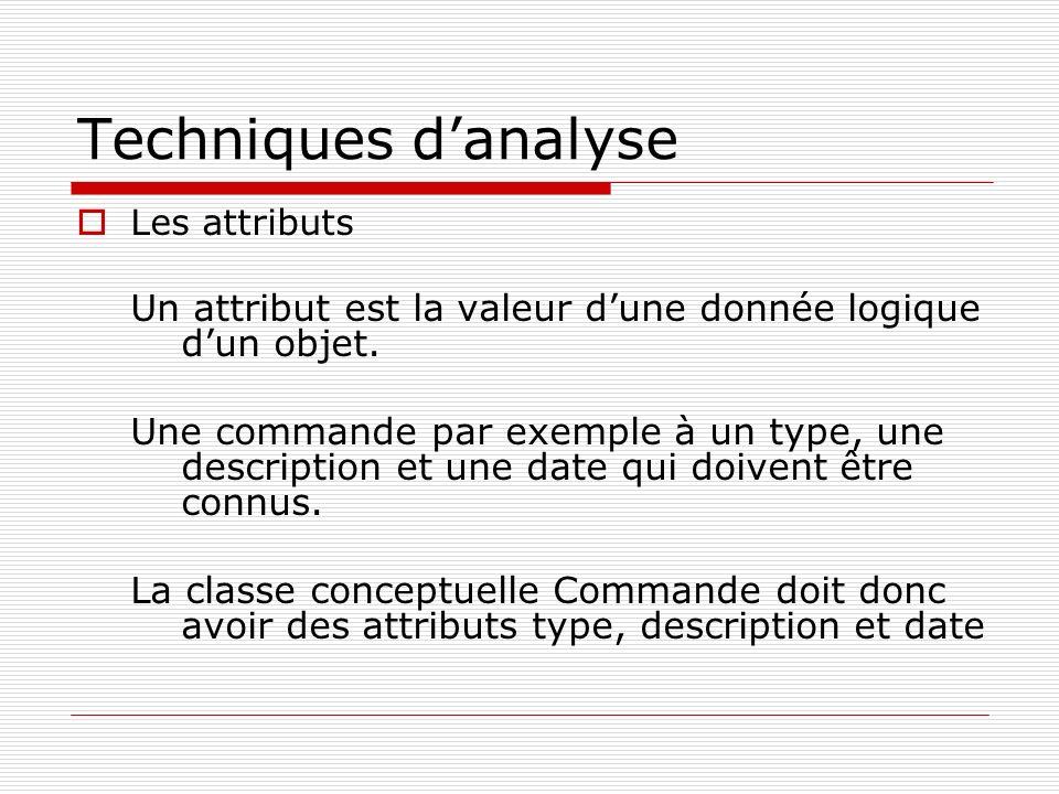 Techniques danalyse Les attributs Un attribut est la valeur dune donnée logique dun objet. Une commande par exemple à un type, une description et une