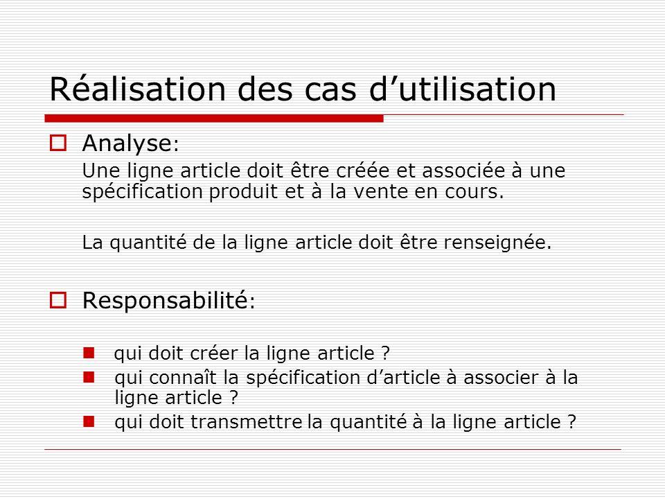 Réalisation des cas dutilisation Analyse : Une ligne article doit être créée et associée à une spécification produit et à la vente en cours. La quanti
