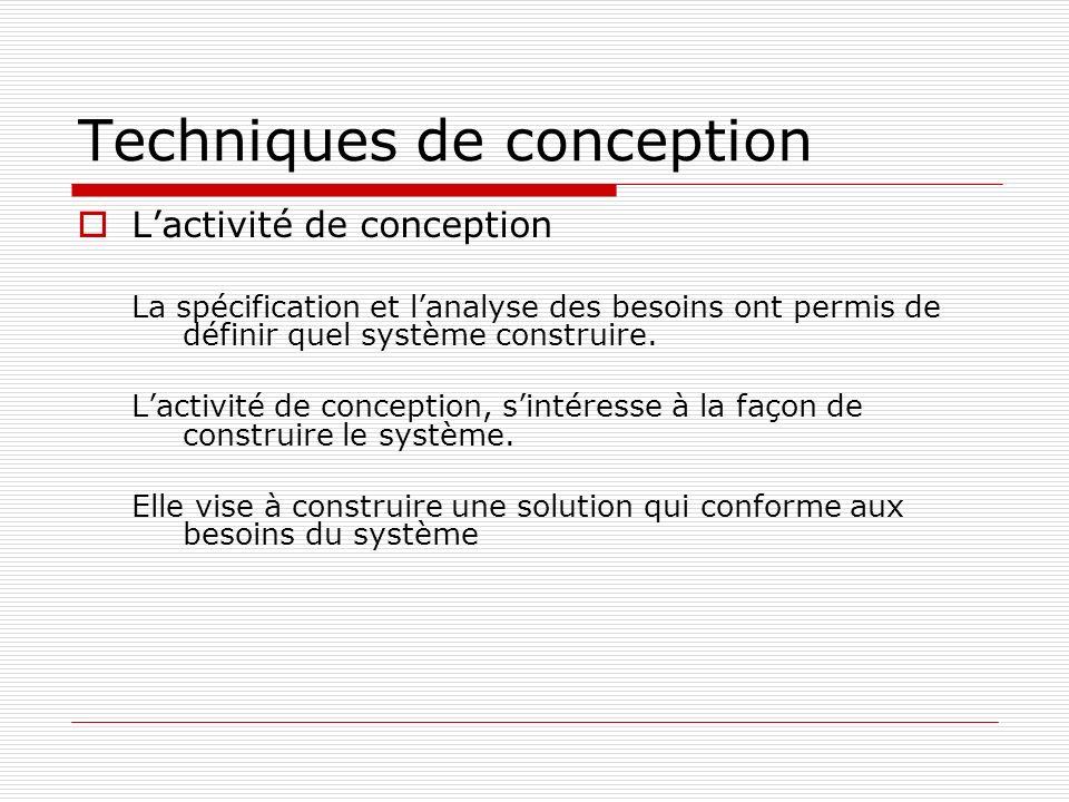 Techniques de conception Lactivité de conception La spécification et lanalyse des besoins ont permis de définir quel système construire. Lactivité de