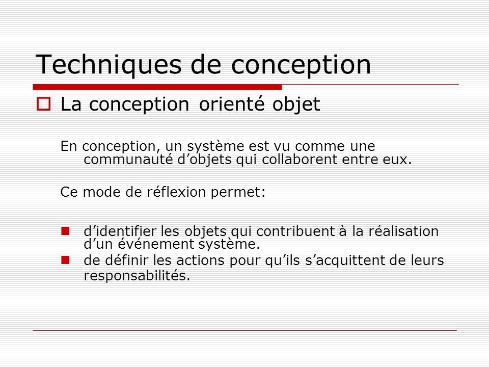 Techniques de conception La conception orienté objet En conception, un système est vu comme une communauté dobjets qui collaborent entre eux. Ce mode