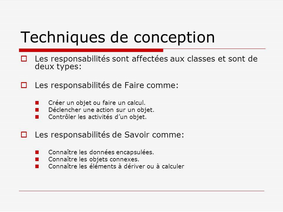 Techniques de conception Les responsabilités sont affectées aux classes et sont de deux types: Les responsabilités de Faire comme: Créer un objet ou faire un calcul.
