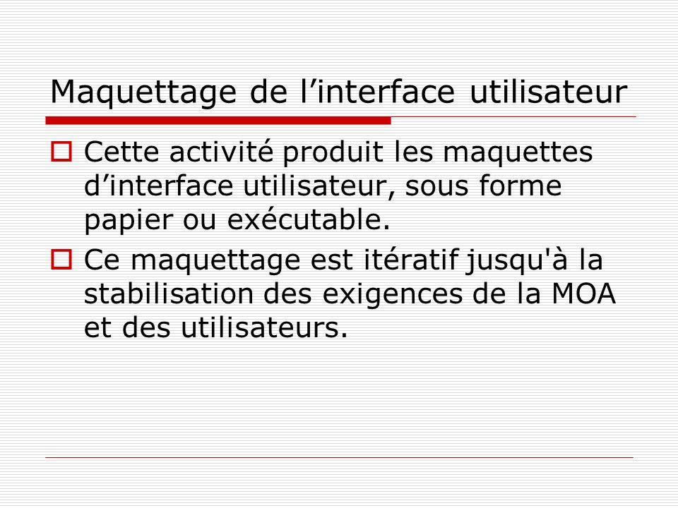 Maquettage de linterface utilisateur Cette activité produit les maquettes dinterface utilisateur, sous forme papier ou exécutable.