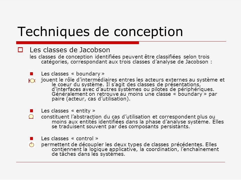 Techniques de conception Les classes de Jacobson les classes de conception identifiées peuvent être classifiées selon trois catégories, correspondant aux trois classes danalyse de Jacobson : Les classes « boundary » jouent le rôle dintermédiaires entres les acteurs externes au système et le coeur du système.