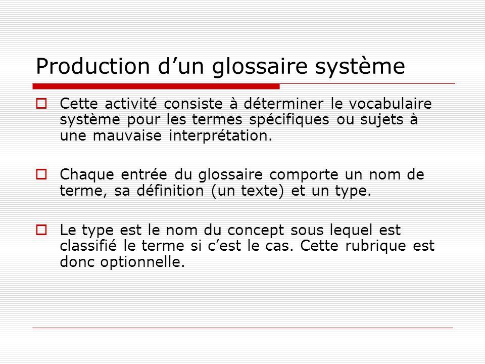 Production dun glossaire système Cette activité consiste à déterminer le vocabulaire système pour les termes spécifiques ou sujets à une mauvaise interprétation.