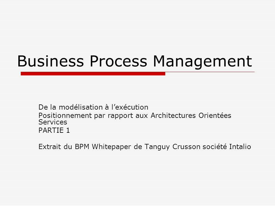 Business Process Management De la modélisation à lexécution Positionnement par rapport aux Architectures Orientées Services PARTIE 1 Extrait du BPM Wh
