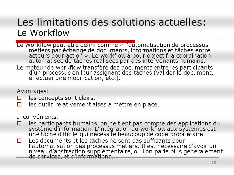 10 Les limitations des solutions actuelles: Le Workflow Le Workflow peut être défini comme « lautomatisation de processus métiers par échange de docum
