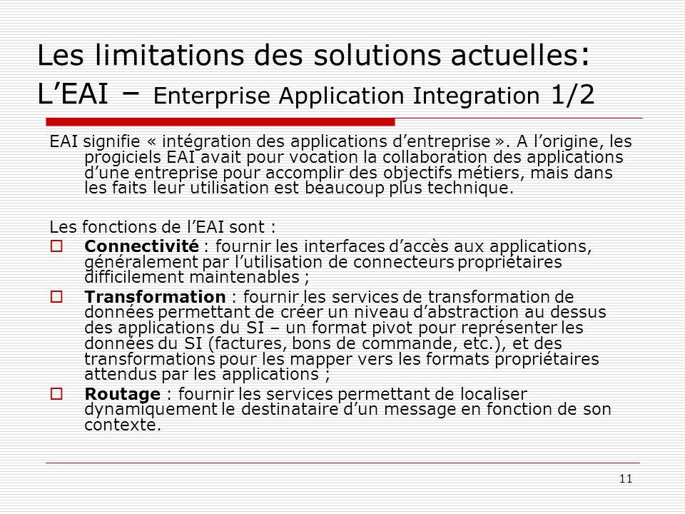 12 Les limitations des solutions actuelles : LEAI – Enterprise Application Integration 2/2 Avantages Réutilisabilité: il permet de capitaliser sur les applications existantes : lapplication de facturation récupère les bons de commande pour générer automatiquement les factures, etc.
